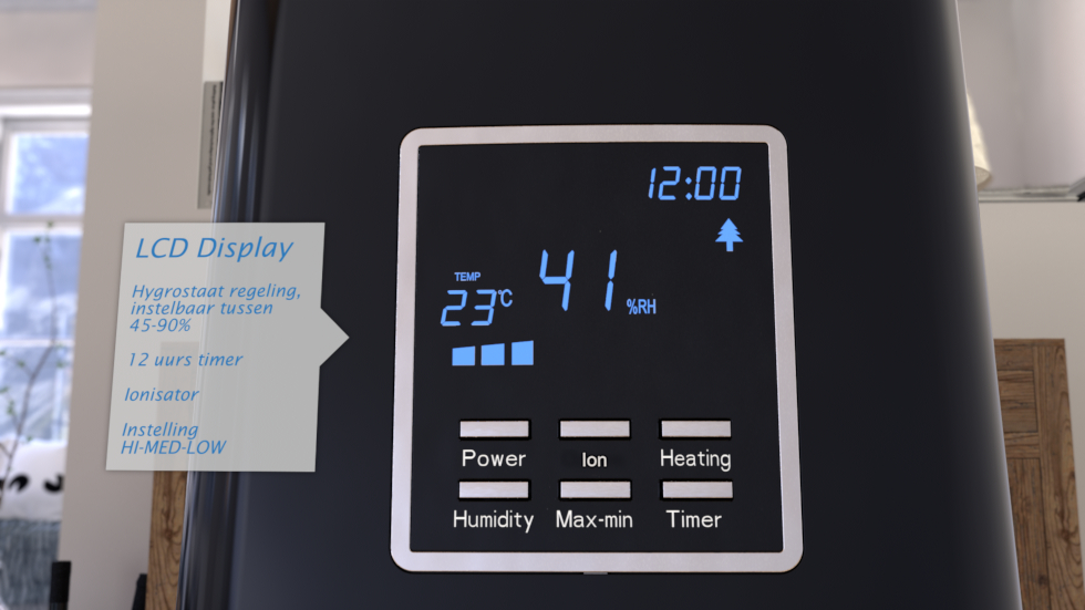Door de geïntegreerde ionisator worden negatieve zuurstofionen voor luchtreiniging geproduceerd.