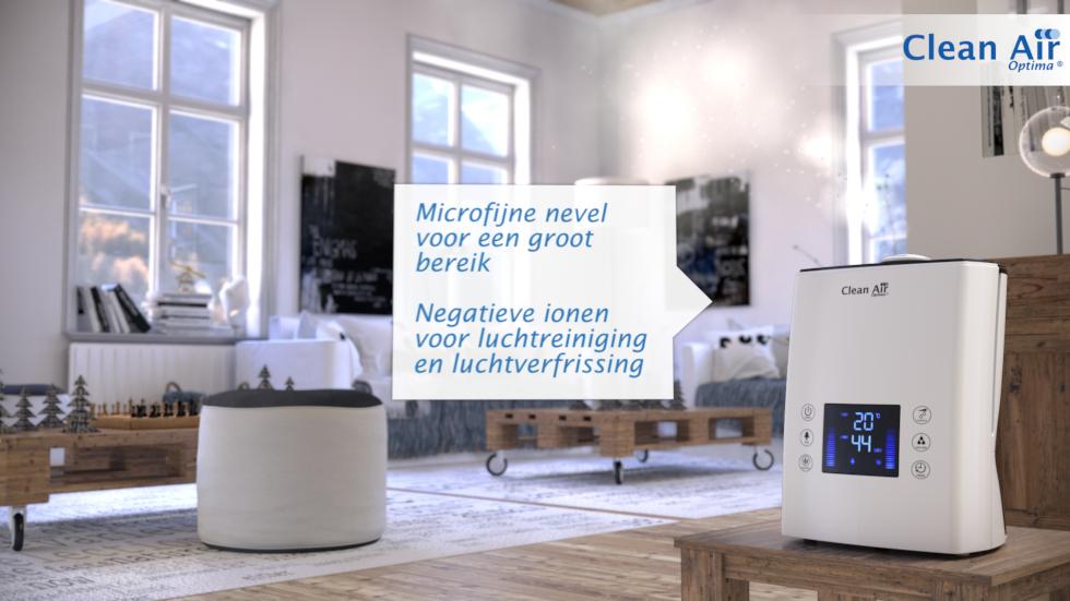 De ultrasoon techniek van de moderne Clean Air Optima luchtbevochtiger CA-606 behoort tot de meest effectieve methoden voor automatische luchtbevochtiging in binnenruimtes.