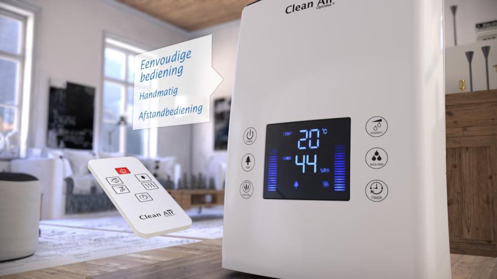 Gecombineerd ultrasoon koud en warm bevochtigen met luchtreiniging door ionisator Clean Air Optima CA-606