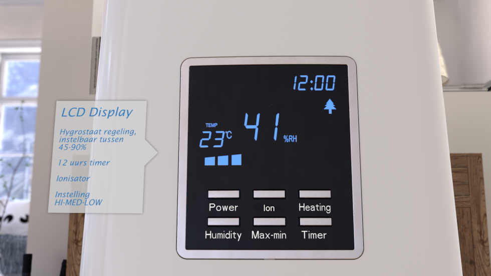 Gecombineerd ultrasoon warm bevochtigen met luchtreiniging door ionisator.