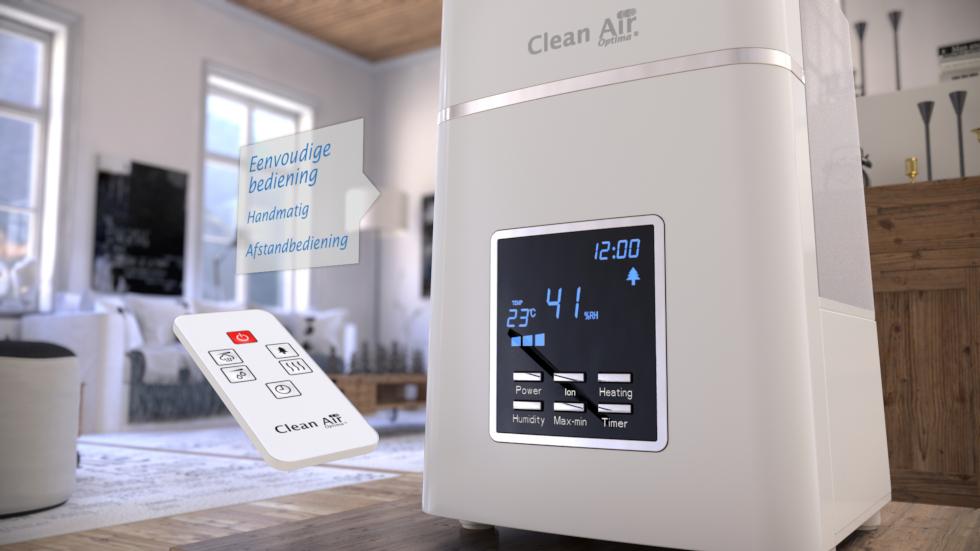 Water wordt door ultrasoon techniek microfijn verneveld en de lucht aangenaam bevochtigd door warme of koude mist.