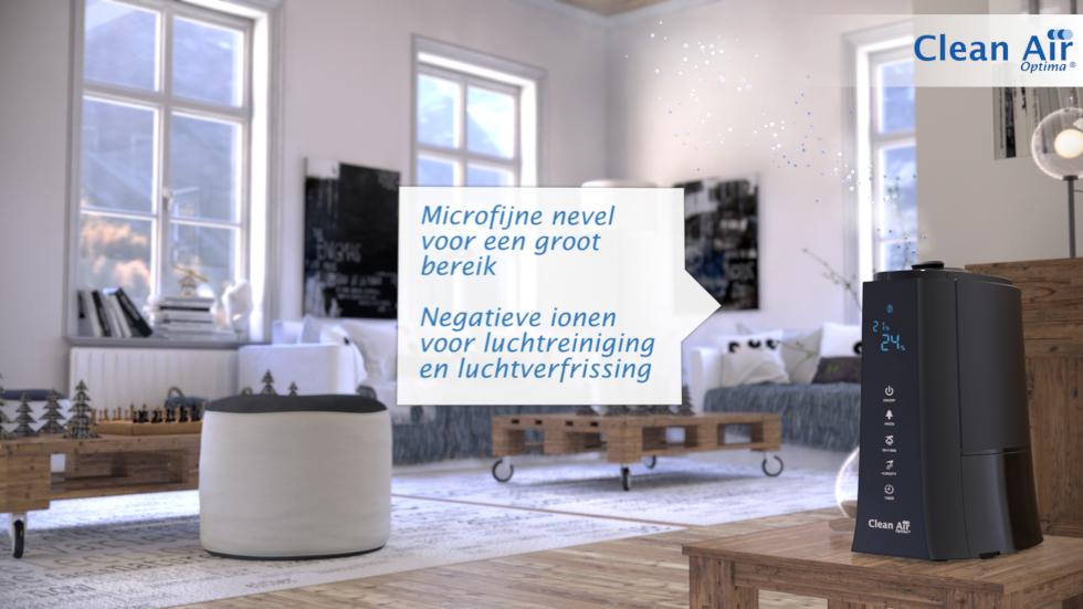 De ingebouwde ionisator produceert negatieve zuurstofionen waardoor de binnenlucht aanvullend op de bevochtiging wordt gereinigd en verfrist. Negatieve ionen hangen zich aan stofdeeltjes.