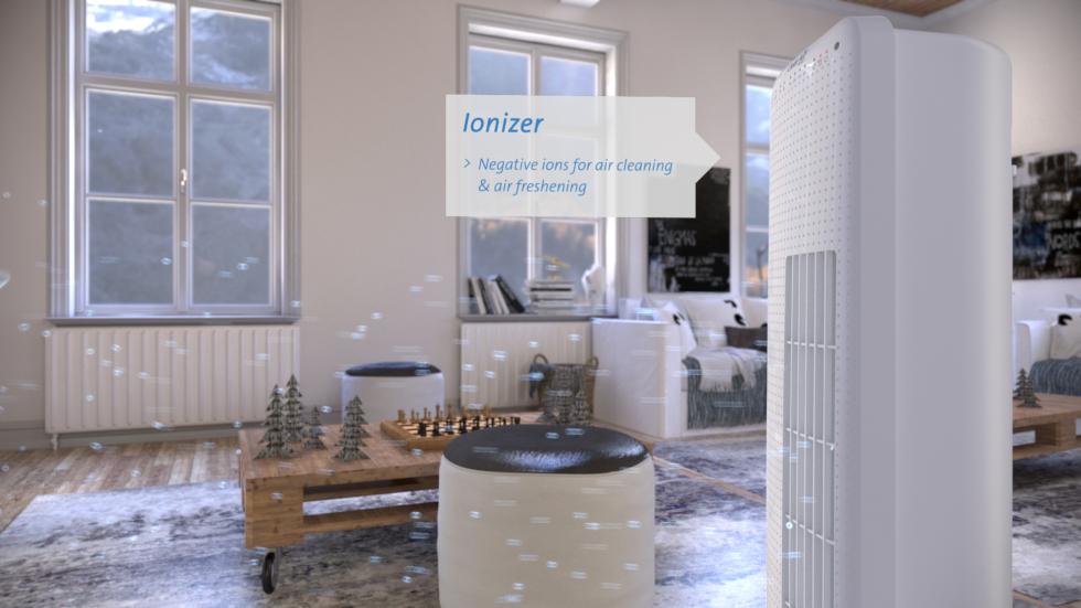 Drie ventilatorstanden, Dynamische natuurlijke luchtstroom of pulserende palmbries, Geluidsarm ventilatorsysteem.